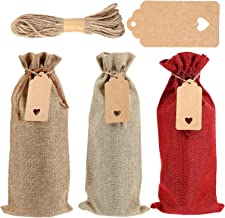Cabilock 12 Sets Burlap Wine Bag with Drawstrings Tags Ropes Reusable Wine Bottle Covers Gift Bags for Christmas Wedding B...