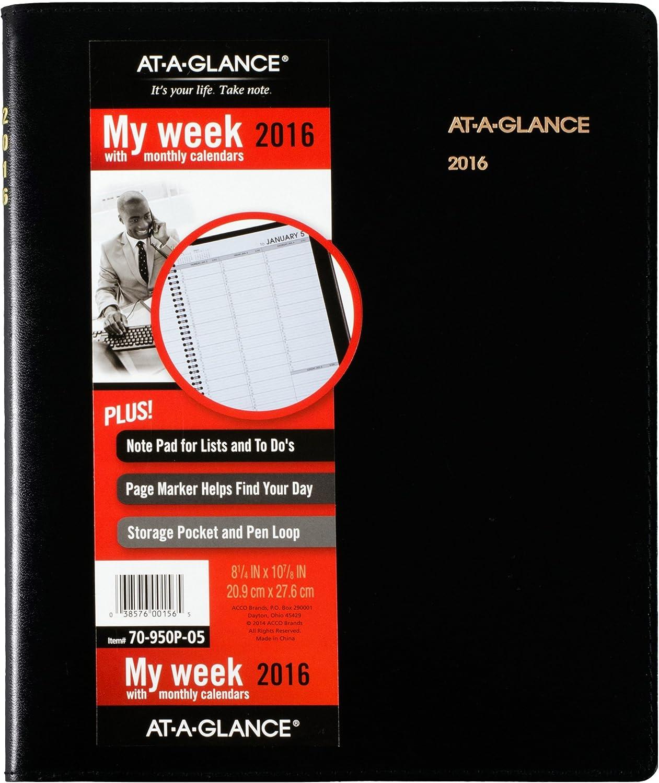 Einen Blick Weekly Amts Buch 2016, Plus Schreibblock, 8–1 8–1 8–1 4 x 10–7 20,3 cm, schwarz, (70–950p-05) B00WUUQDTU | Gewinnen Sie das Lob der Kunden  5606a3