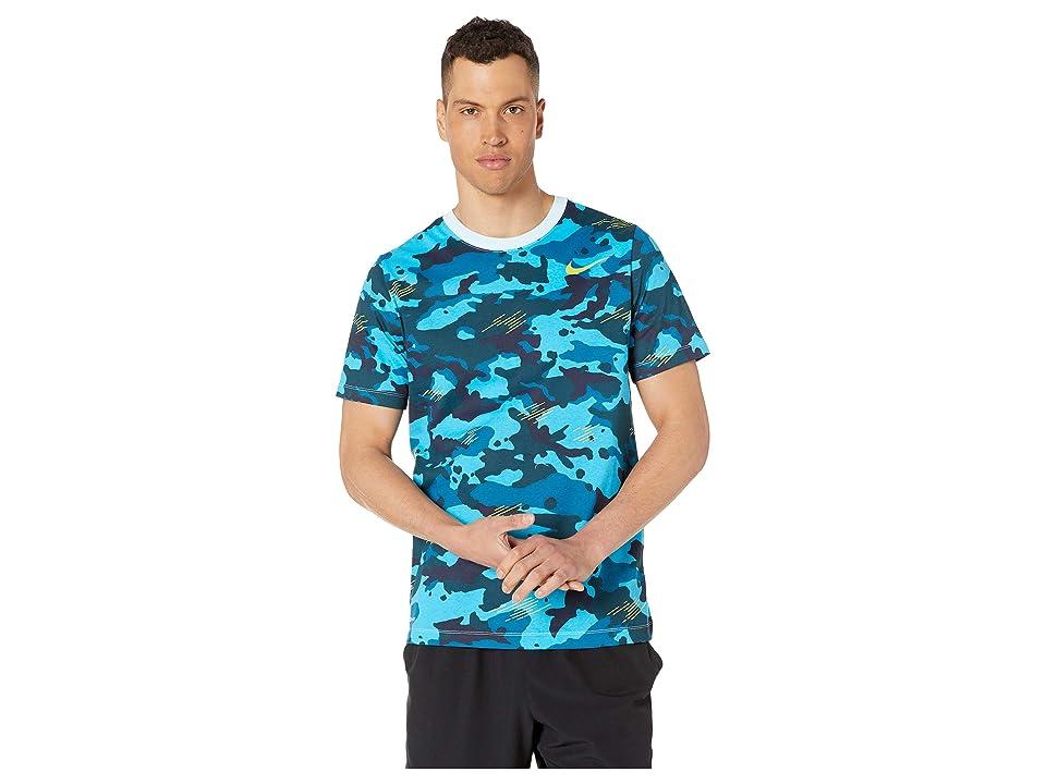 Nike Dry Tee Dri-FITtm Cotton Camo All Over Print (Topaz Mist/Bright Cactus) Men