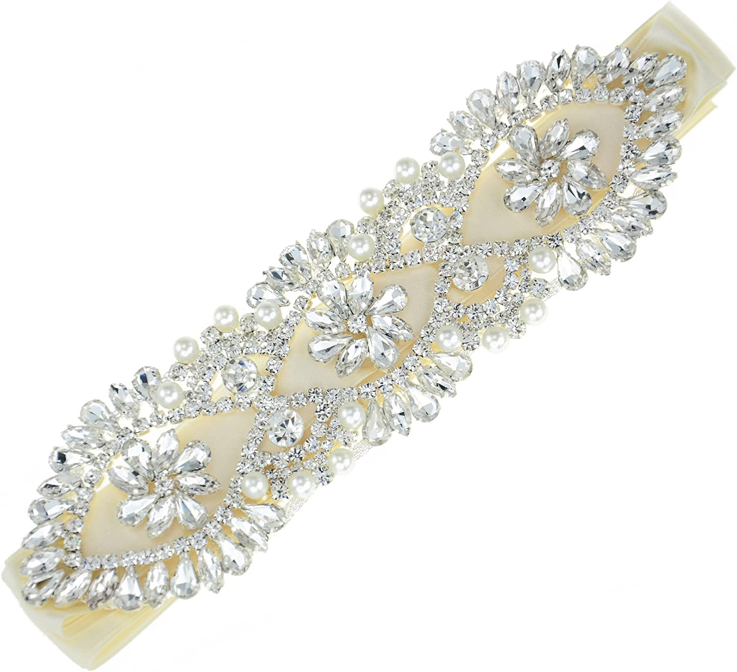 Shinejoy Crystal Applique Sashes Wedding Dress Sash Rhinestone Trim Applique for Bridal Dresses Decorative Pearl Trim Belt Applique (Style5)