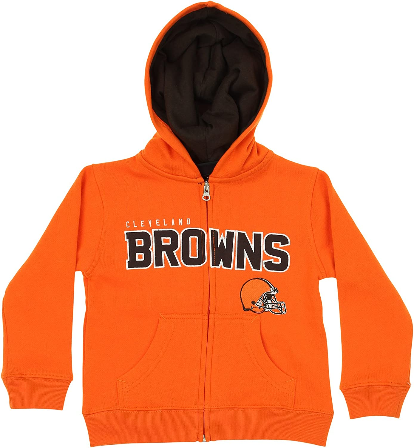 OuterStuff NFL Kids Cleveland Browns Stated FullZip Fleece Hoodie, orange