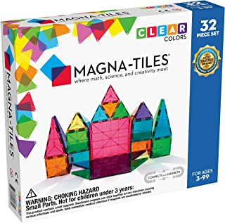 Magna-Tiles 32-Piece Clear Colors Set, The Original, Award-Winning Magnetic Building Tiles for Kids, Creativity and Educat...