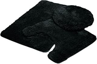 Mary 3 Piece Bathroom Rug Set, Luxury Soft Plush Shaggy Thick Fluffy Microfiber Bath Mat, Countour Rug, Toilet Seat Lid Cover, Non-slip Rubber Back, Floor Mats Water Absorbent, Black