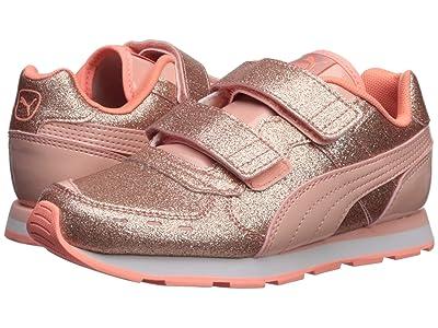 Puma Kids Vista Glitz Velcro (Little Kid) (Peach Bud/Bright Peach) Girls Shoes