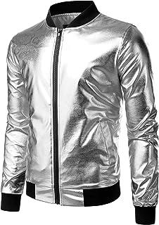 ZEROYAA Men's Night Club Hipster Metallic Shiny Slim Fit Zip up Jacket