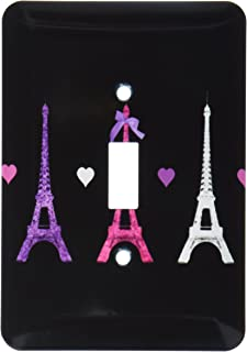 3dRose LLC lsp_113151_1 Girly Eiffel Tower Hot Pink Purple Black Paris Towers Love Hearts Stylish French Modern France Sin...
