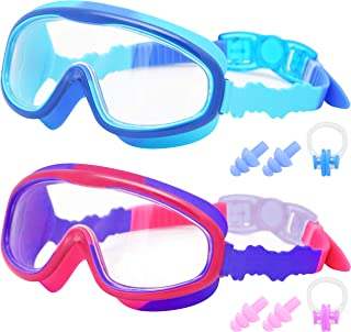 Kids Swim Goggles, 2 Pack 2020 Upgraded Wide Vision Swimming Goggles No Leaking Anti-Fog UV Protection for Children, Girl...