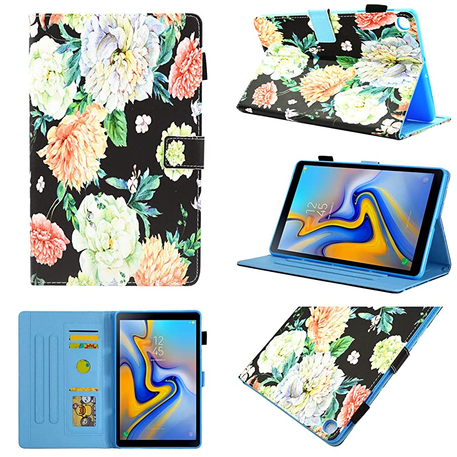 Galaxy Tab A 10.1 2019 Case T510/T515 Case, Chgdss Full Body Protection Multi-Angle Viewing/Card Slots, for Galaxy Tab A 10.1 Inch Tablet Model SM-T510 SM-T515 2019 Release - Beautiful Flower