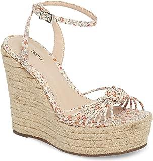 Gianne Floral Leather Espadrille Platform Wedge Ankle Strap Cage Sandal
