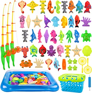 REMOKING Kid Toys 52PCS Fishing Game,Magnetic Toys with Ocean Sea Animal,Fishing Poles,Nets,Inflatable Pool,Toddlers Batht...