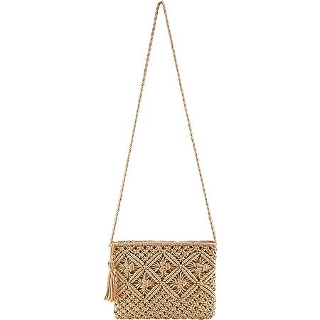 CHIC DIARY Strohtasche Umhängetasche Damen Retro Klein Stroh Crossbody Tasche mit Quaster Schultertasche Sommer Strandtasche