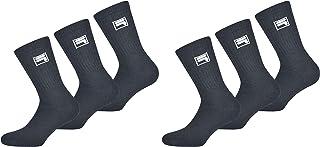 Fila, Calcetines de tenis para hombre y mujer F9000 Crew 6 pares, color blanco, gris y negro