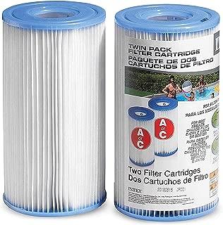 Intex Pool Filter Cartridges - Intex Cartridge Filter Type A and C For Intex Pool Filter Pumps set of (2) - Bundled with (2) SEWANTA Oil Absorbing Sponges.