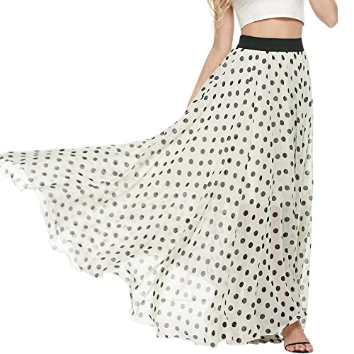e86886afb6c Meaneor Women s Casual Contrast Polka Dot Print Chiffon Maxi Skirts