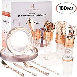 TT Design 180PCS Rose Gold Plates Set | Premium Disposable Plastic Tableware | Perfect for Birthdays, Weddings, Thanksgiving, Christmas | Heavyweight Quality Flatware & Silverware Party Decorations