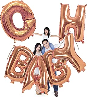 40 Inch Oh Baby Balloon in Rose Gold Newborn Shower Large Letters Banner for Boy or Girl Mylar Foil Announcement Party Supplies Prince Princess Sparkle Back Drop Sign