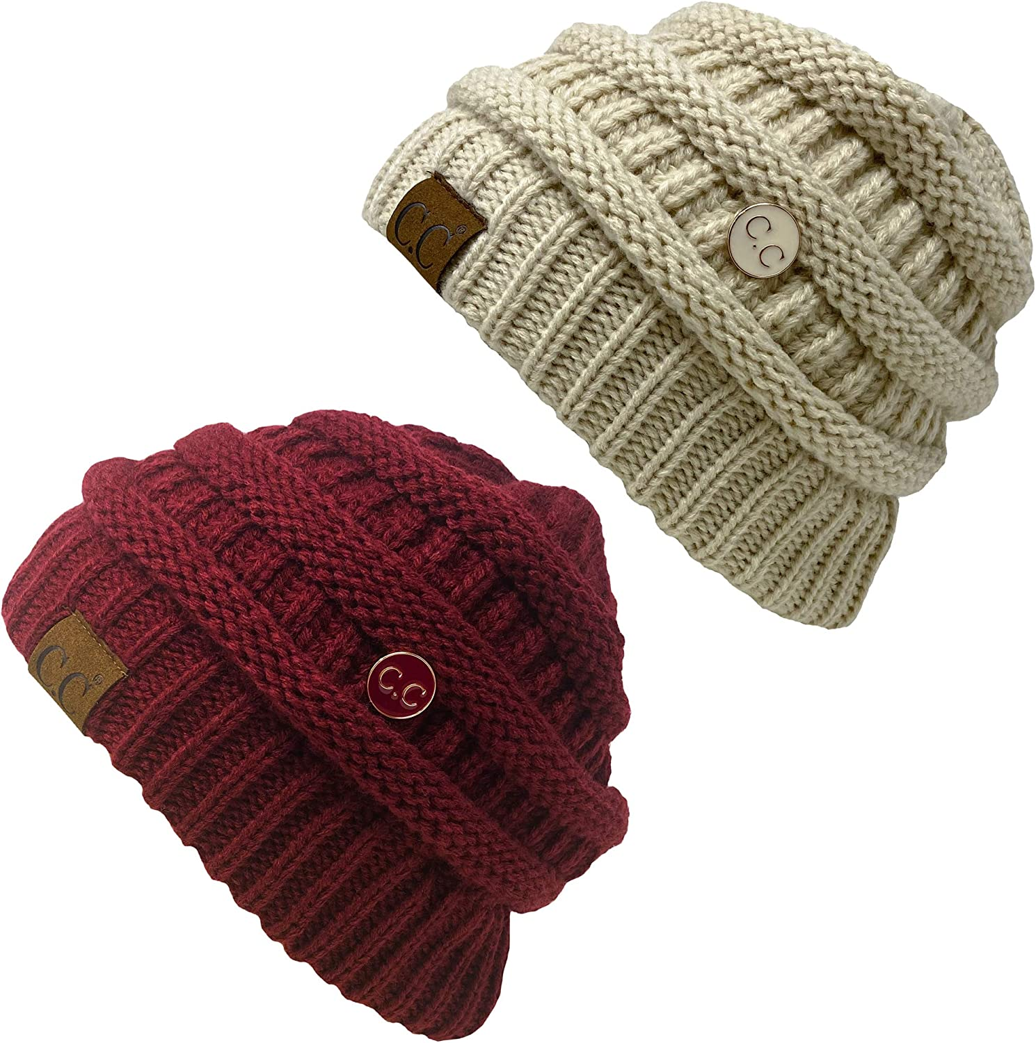 Funky Junque Womens Beanie Ribbed Knit Hat Chunky Slouchy Side Button Skullcap
