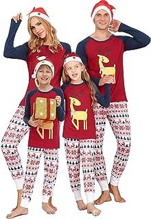 Doaraha Pijamas de Navidad Familia Conjunto Pantalon y Top Manga Larga Pijama 2 Piezas Ropa de Dormir para Mujer Hombre Ma...