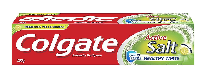 商品忌み嫌う挑発するColgate Toothpaste Active Salt - 100 g (Salt and Lemon)