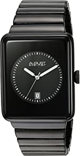 August Steiner Men's Electronic Technological Design Minimalist Watch - Rectangular Case with Dial + Bonus Date Window on Stainless Steel Bracelet