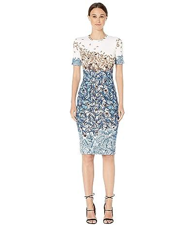 YIGAL AZROUEL Falling Leaves Printed Scuba Shift Dress (Ivory Multi) Women