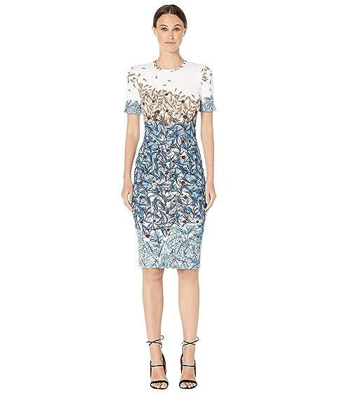 YIGAL AZROUËL Falling Leaves Printed Scuba Shift Dress