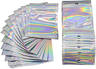 AUEAR, 100 Pack Resealable Mylar Bags Small Proof Pouch 2.8x3.9inch Aluminum Foil Packaging Plastic Ziplock Bag Holographic Color for Food Jewelry Screw Storage
