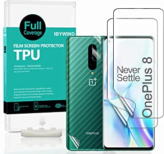 For OnePlus 8,Clear TPU Screen Protector [Pack of 2],[Camera Lens Protector][Back Carbon Fiber Film Protector][in-Display ...