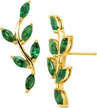 2 ct Natural Emerald Leaf Climber Stud Earrings in 10K Gold