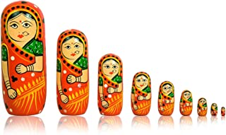 702 Russian Wooden Nesting Dolls Traditional Matryoshka Hand Painted 7pcs
