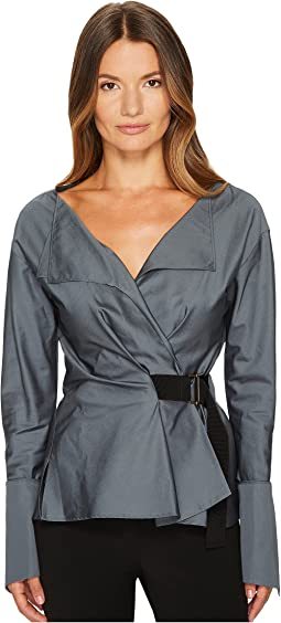 Jil Sander Navy - Cotton Satin Wrap Deep V-Neck Shirt