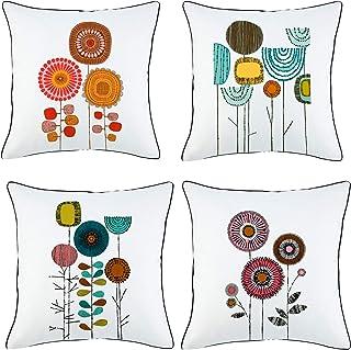 Alimama Funda de cojín de algodón con diseño de flor de vida coordinada