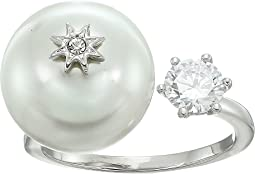 Betsey Johnson Blue by Betsey Open Ring with Cubic Zirconia Stone and Pearl and Star Detail