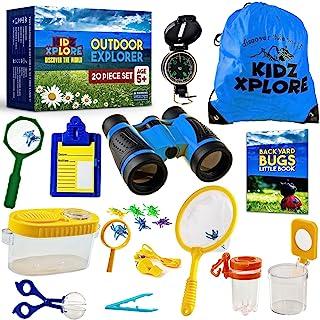 Kidz Xplore-Outdoor Explorer Set, Bug Catching Kit, Nature Exploration Children Outdoor Games Mini Binoculars Kids Compass...