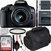 Canon EOS 2000D DSLR Camera with 18-55mm is II Lens & Starter Accessory Bundle – Includes: SanDisk Ultra 32GB SDHC Memory Card + Camera Carrying Case + Ultraviolet Filter + Lens Cap Keeper + More