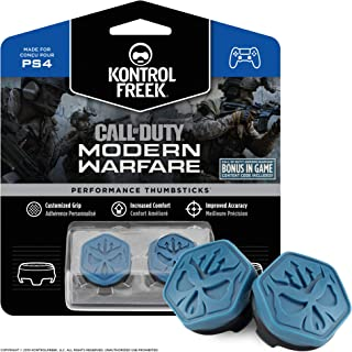 KontrolFreek Call of Duty Modern Warfare Performance Thumbsticks for PlayStation 4 (PS4) | 2 Mid-Rise, Convex | Blue/Black