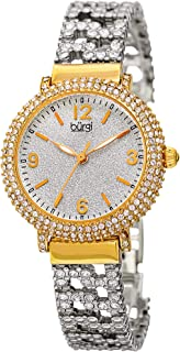 Burgi Swarovski Crystal Women's Fashion Watch - Crystal Filled Sparkling On Silver Powder Finished Dial on Stainless Steel Bracelet Watch - BUR140