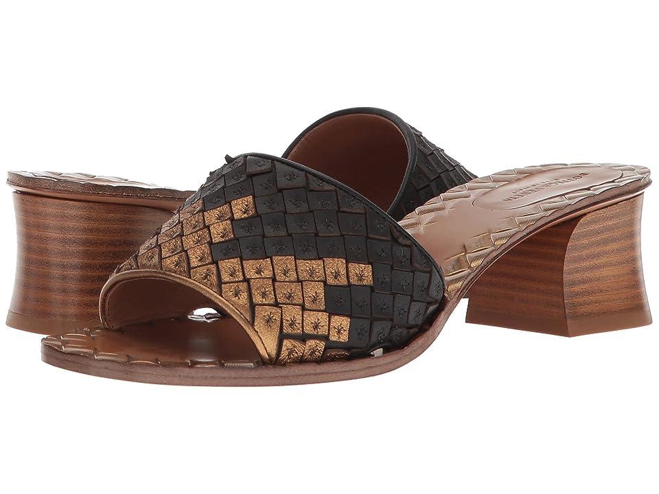 Bottega Veneta Intrecciato Heeled Sandal (Gold/Black) High Heels