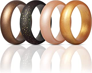 Silicone Rings Wedding Bands for Women 4 Pack - 5.5mm Wide - 2mm Thick