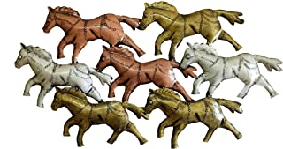 Lakshya India Wall Hanging Metal Art Seven Running Horse Handcrafted & Hand Painted Product