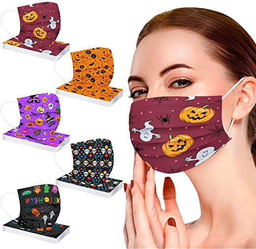 50Pcs Halloween Disposable Face Masks for Adults,Breathable Face Mask with Printed Three-Layer Design Full Face Protection
