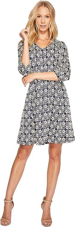 V-Neck Geo Print Knit Jacquard Dress