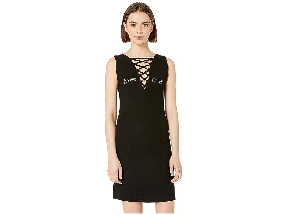 Bebe Logo Lace-Up Mini Dress (Jet Black) Women