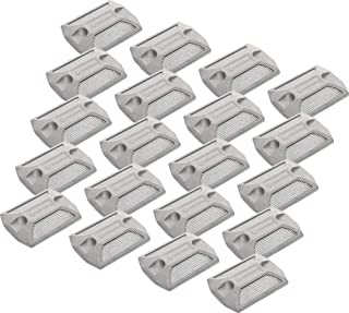 GreenLighting 20 Pack White Reflective Road Studs - Commercial Grade Heavy Duty Aluminum Road Pavement Markers