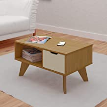 Artely Vip Coffee Table, Freijo Brown with Off White - W 80 cm x D 50 cm x H 44 cm