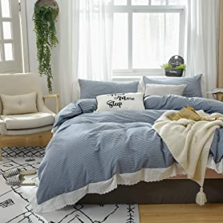 Softta Bedding Queen Size Duvet Cover Ruffle Striped Bed Cover Set 3 Pcs Farmhouse Vintage White and Navy Blue 100% Washed Cotton Princess Girls Bedding with Zipper Ties 1 Duvet Cover + 2 Pillow Shams