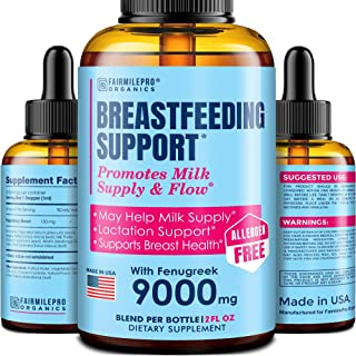 Lactation Supplement Breastfeeding Support Liquid - Breast Milk Supply Increase for Mothers, Organic Drops of Fenugreek Bl...