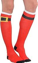 Red Santa Belt Knee Socks-High, 1 pair   Party Costume