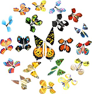 20 Pieces Magic Flying Butterfly Rubber Band Powered Wind up Butterfly Toy for Surprise Book Romantic Fairy Flying Toys fo...