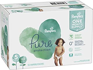 Diapers Size 5, 132 Count - Pampers Pure Disposable Baby Diapers, Hypoallergenic and Unscented Protection, ONE MONTH SUPPLY